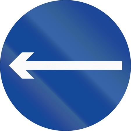 proceed: Road sign in the Philippines - Direction To Be Followed - Proceed Left Only. Stock Photo