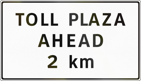 toll: Road sign in the Philippines - Toll Plaza Ahead (with distance). Stock Photo