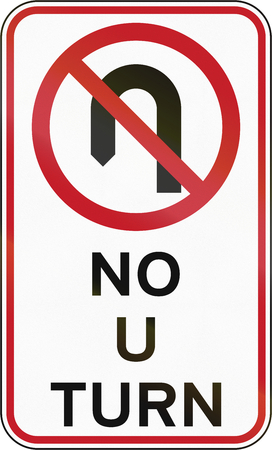no u turn sign: Road sign in the Philippines - No U Turn.
