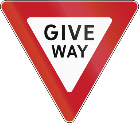 Road sign in the Philippines - Give Way. Stock Photo