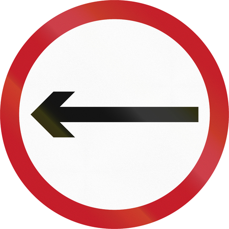 proceed: Old version of road sign in the Philippines - Direction To Be Followed - Proceed Left Only.