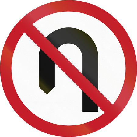uturn: Road sign in the Philippines - No U Turn.