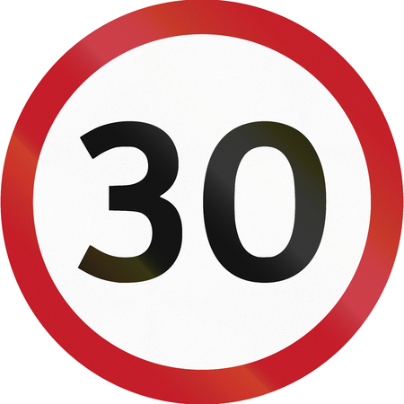 kph: Road sign in the Philippines - 30 kph speed limit sign in the Philippines. Stock Photo