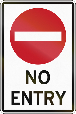no entry: Road sign in the Philippines - No Entry For All Vehicles.