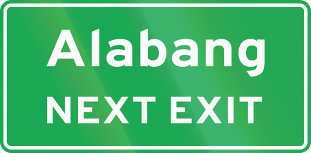 exit sign: Road sign in the Philippines - Supplementary Advance Exit Sign (NEXT EXIT). Stock Photo