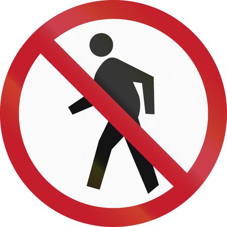 pedestrians: Road sign in the Philippines - No pedestrians sign.