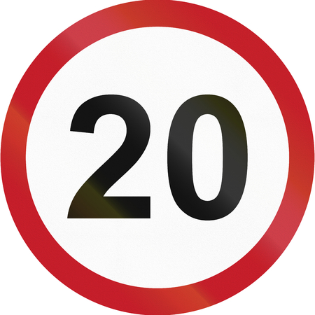 kph: Road sign in the Philippines - Speed limit - Maximum 20 kph. Stock Photo
