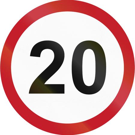 maximum: Road sign in the Philippines - Speed limit - Maximum 20 kph. Stock Photo