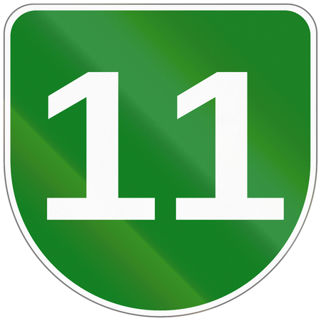 number 11: Route shield of a Japanese Urban Expressway. Stock Photo