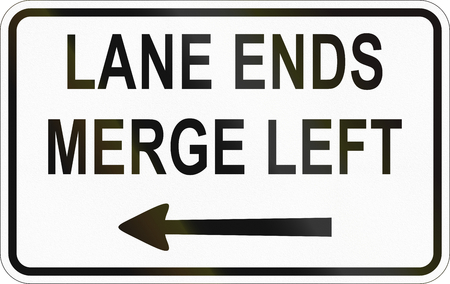 additional: Additional Panel for road sign in the Philippines - Lane Ends, Merge Left. Stock Photo