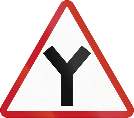 junction: Road sign in the Philippines - Y Junction. Stock Photo