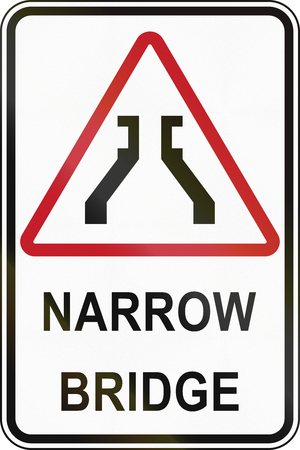 narrow: Road sign in the Philippines - Narrow Bridge.