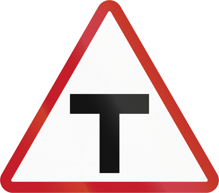 danger signs: Road sign in the Philippines - T Junction.