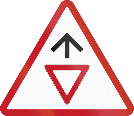 Road sign in the Philippines - Give Way Sign Ahead.
