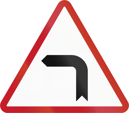 sharp: Road sign in the Philippines - Sharp Turn. Stock Photo