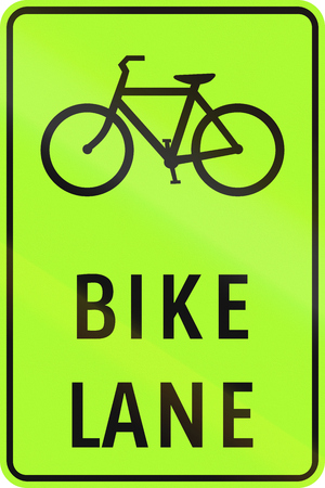 lane: Road sign in the Philippines - Bike Lane Ahead.