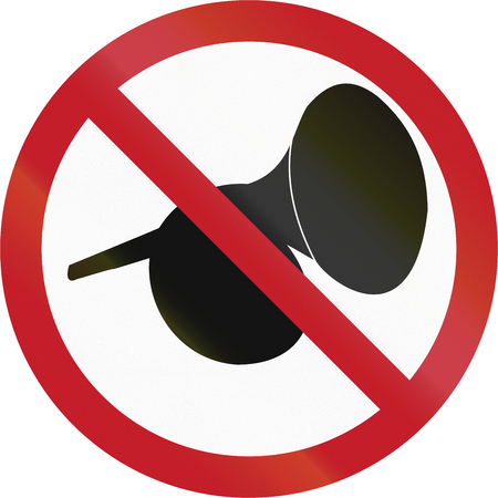audible: Road sign in the Philippines - Use Of Audible Warning Devices Prohibited. Stock Photo