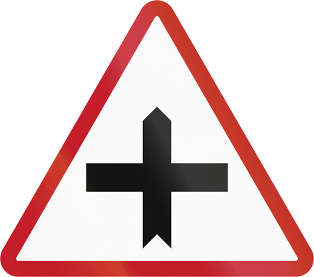 priority: Road sign in the Philippines - Crossroads with priority. Stock Photo