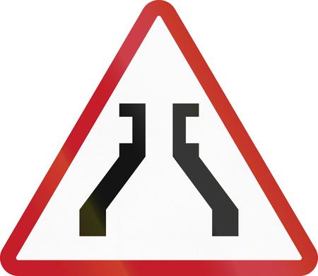 narrow: Road sign in the Philippines - Narrow Bridge.
