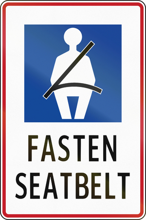 seatbelt: Road sign in the Philippines - Fasten seat belt.