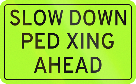 slow down: Road sign in the Philippines - Slow down, pedestrian crossing ahead.