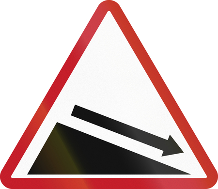 descent: Road sign in the Philippines - Steep Descent. Stock Photo