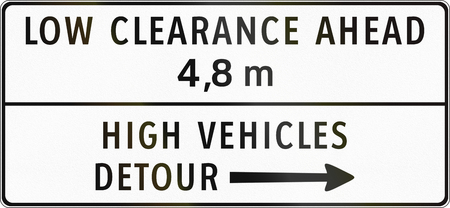 detour: Road sign in the Philippines - Low Clearance Ahead, High Vehicles Detour.