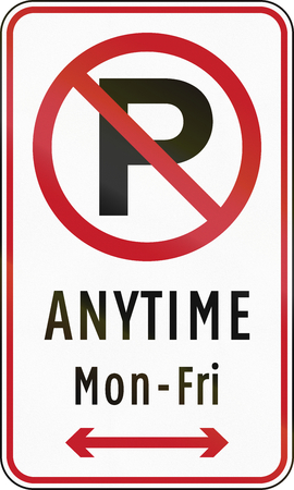 no  parking: Road sign in the Philippines - No parking anytime from Monday to Friday.
