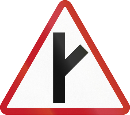 side of the road: Road sign in the Philippines - Side Road Junction. Stock Photo