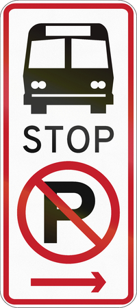 Road sign in the Philippines - No parking, bus stop. Stock Photo