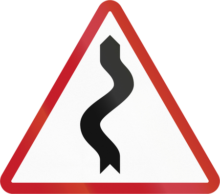 winding: Road sign in the Philippines - Winding Road. Stock Photo