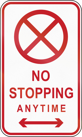 stopping: Road sign in the Philippines - No Stopping.