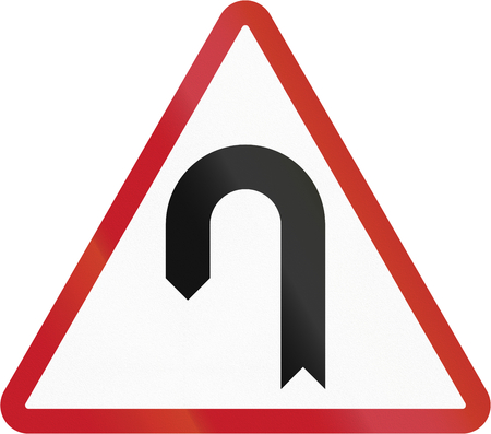 hairpin: Road sign in the Philippines - Hairpin Bend. Stock Photo