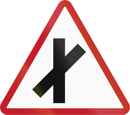 cross road: Road sign in the Philippines - 45 degree Cross Road.