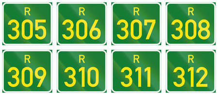 regional: Collection of South African Regional route signs.