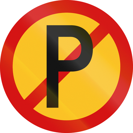 no parking sign: Temporary No Parking sign used in South Africa.