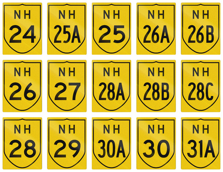 24 26: Collection of route shields of Indian National highways.