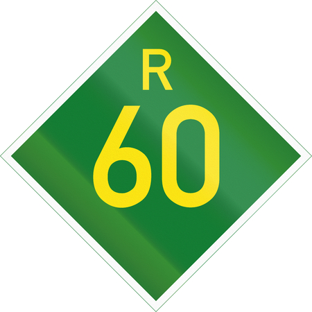 r image: South Africa Provincial Route shield - R60. Stock Photo