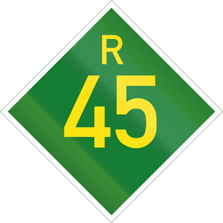 provincial: South Africa Provincial Route shield - R45. Stock Photo