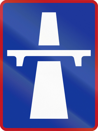 carriageway: Sign marking the beginning of a single-carriageway in South Africa.