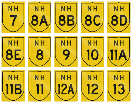 12 13: Collection of route shields of Indian National highways.