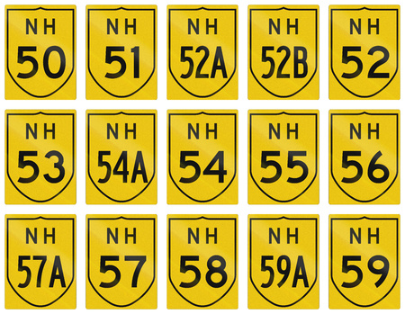57: Collection of route shields of Indian National highways.