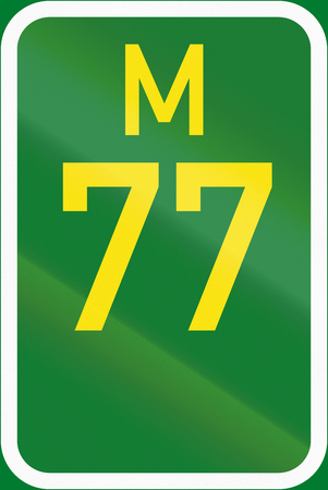 metropolitan: South Africa Metropolitan route sield - M77. Stock Photo