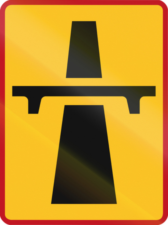 carriageway: Sign marking the beginning of a temporary single-carriageway in South Africa.
