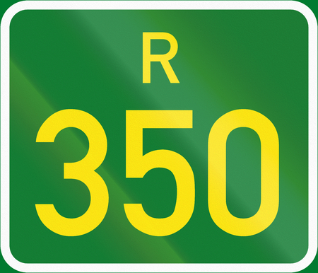 regional: South Africa Regional Route shield - R350. Stock Photo