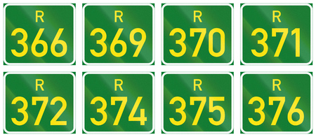 r image: Collection of South African Regional route signs.