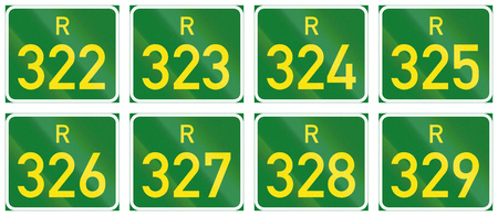 south african: Collection of South African Regional route signs.