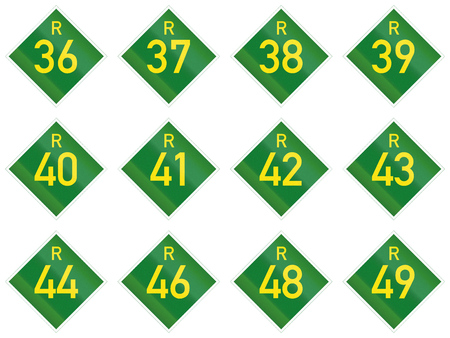 36: Collection of South African Provincial route signs. Stock Photo