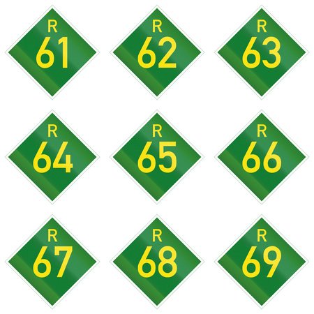 south african: Collection of South African Provincial route signs. Stock Photo
