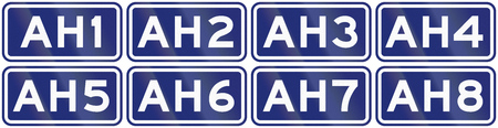highway 6: Collection of route shields for the Great Asian Highway. Stock Photo